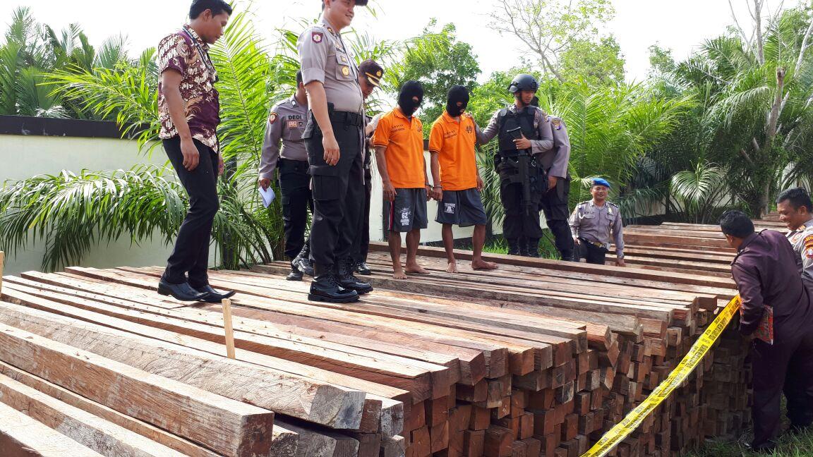 Anggota Polres Seruyan sedang memperlihatkan tersangka dan Barbuk ribuan kayu ulin yang diamankan
