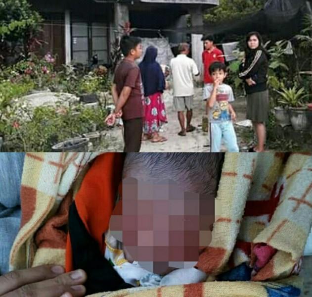 Warga saat mendatangi TKP melihat bayi yang ditemukan Sabtu (27/4).
