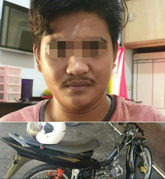 Pelaku saat diamankan di Mapolres Kobar bersama barbuk sepeda motor yang digunakannya untuk beraksi, Sabtu (25/5).