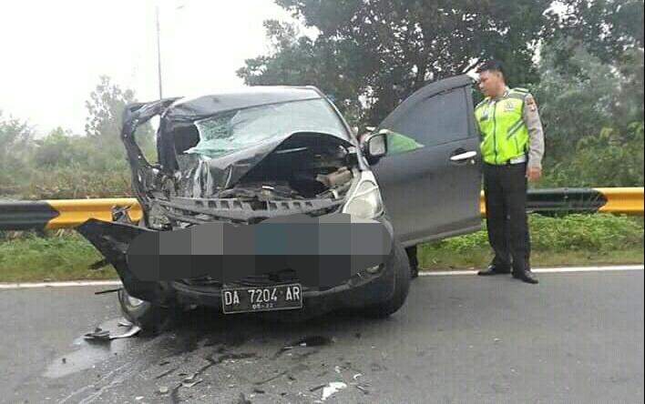 Mobil Avanza saat mengalami ringsek berat seusai kejadian ketika dicek petugas Satlantas Polres Pulpis Jumat (14/6/2019)