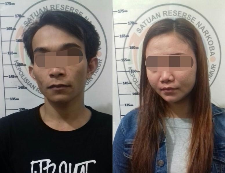 Kedua tersangka saat diamankan di Mapolres Kotim Kamis (20/6/2019).