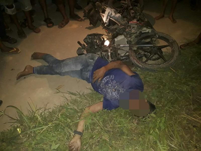 Korban saat tergeletak di lokasi kejadian, Minggu (7/7/2019) malam.