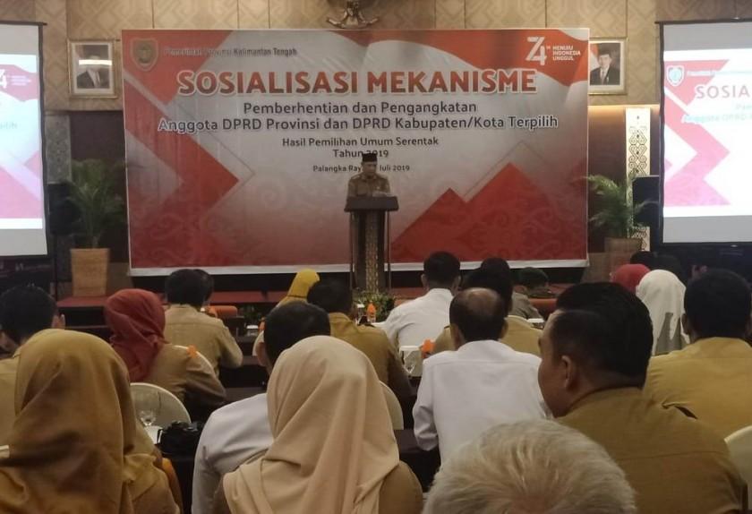 Sekda Kalteng Fahrizal Fitri saat menyampaikan sambutannya dikegiatan sosialisasi Senin (22/7/2019).