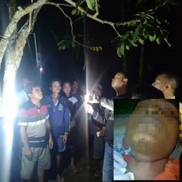 Anggota Polisi dan warga seat berada di lokasi kejadian. Insert poto korban seusai dievakuasi dari tergantung, Rabu (24/7/2019).