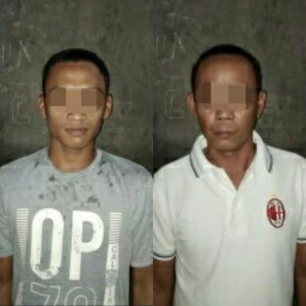 Kedua pelaku saat diamankan di Mapolres Bartim, Kamis (26/7/2019).