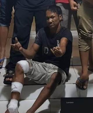 Tersangka Udin Pocong saat diamankan di Mapolres Kobar, Selasa (9/7) malam.