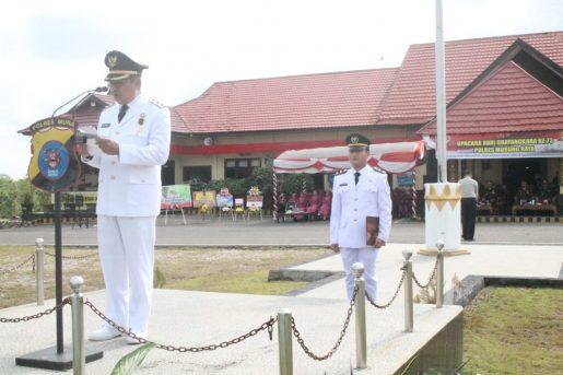 Wabup Mura Rejikinoor saat membacakan sambutan ketika menjadi Irup HUT ke 73 Bhayangkara di Mapolres Mura, Rabu (10/7/2019).