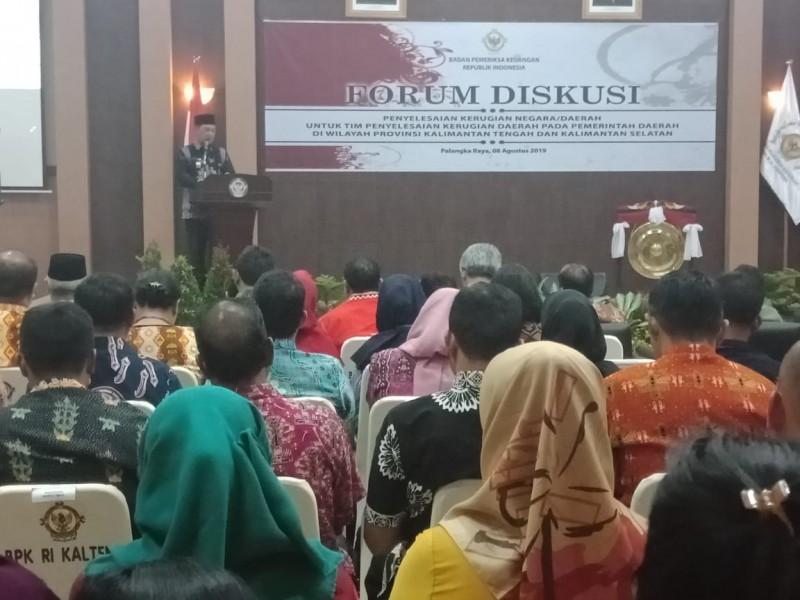 Sekda Kalteng Fahrizal Fitri saat menyampaikan sambutanya dikegiatan forum diskusi penyelesaian masalah kerugian negara Kamis (8/8/2019).