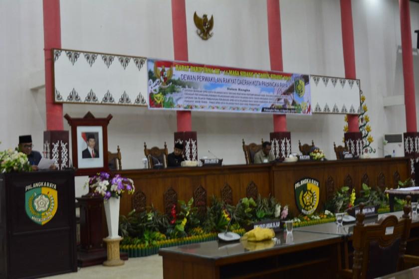 DPRD Kota Palangka Raya saat menggelar paripurna pengesahan APBD Perubahan Jumat (16/8/2019).