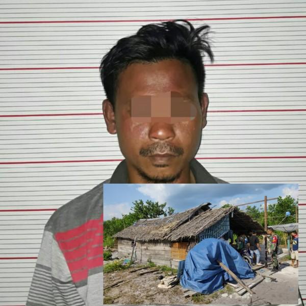 Tersangka saat diamankan di Mapolres Kobar Kamis (22/8). Insert poto lokasi pelaku menyetubuhi korban di rumahnya.