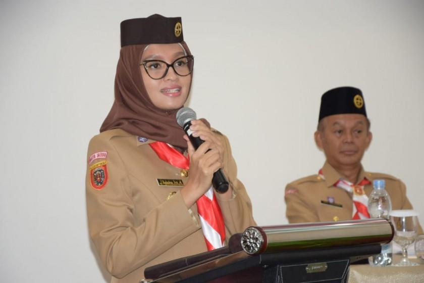Ketua Kwarda Kalteng Yuslitra Ivo Sugianto Sabraan saat menyampaikan sambutannya.