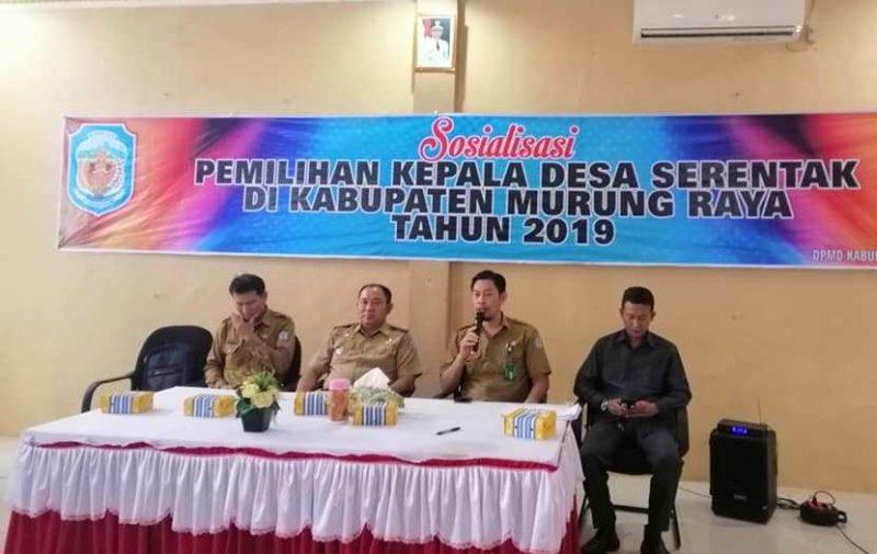 Camat Murung Banjang Jalin saat menghadiri kegiatan sosialisasi Pilkades Serentak 2019.