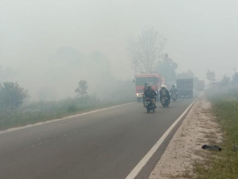 Kabut asap saat menyelimuti ruas jalan di dalam Kota Palangka Raya Jumat (6/9/2019).