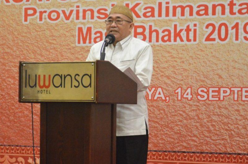 Asisten II Setda Provinsi Kalteng, Nurul Eddy saat membacakan sambutan Gubernur Kalteng Sugianto Sabran di acara pelantikan Pengurus PWI Kalteng Sabtu (14/9/2019).