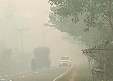 kabut asap pekat di ruas Jalan Tjilik Riwut Palangka Raya Minggu (15/9).
