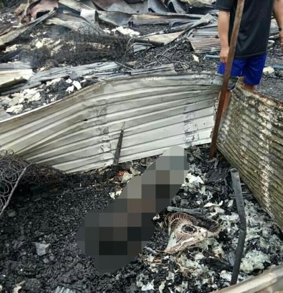 Jasad korban yang hanya menyisakan tengkorak akibat terpanggang api saat kejadian kebakaran Minggu (15/9/2019).