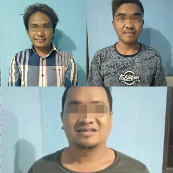 Ketiga pelaku saat diamankan di Mapolsek Banua Lima Rabu (18/9/2019).