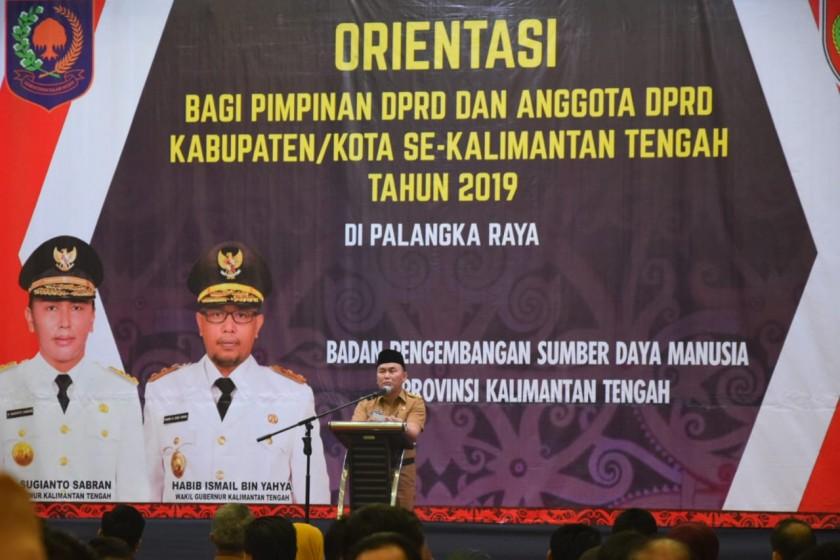 Gubernur Kalteng Sugianto Sabran saat menyampaikan sambutannya. Senin (23/9/2019).