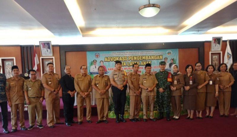 Wabup Mura Rejikinoor dan unsur FKPD serta SOPD saat poto bersama seusai kegiatan advokasi pengembangan KLA Selasa (24/9/2019).