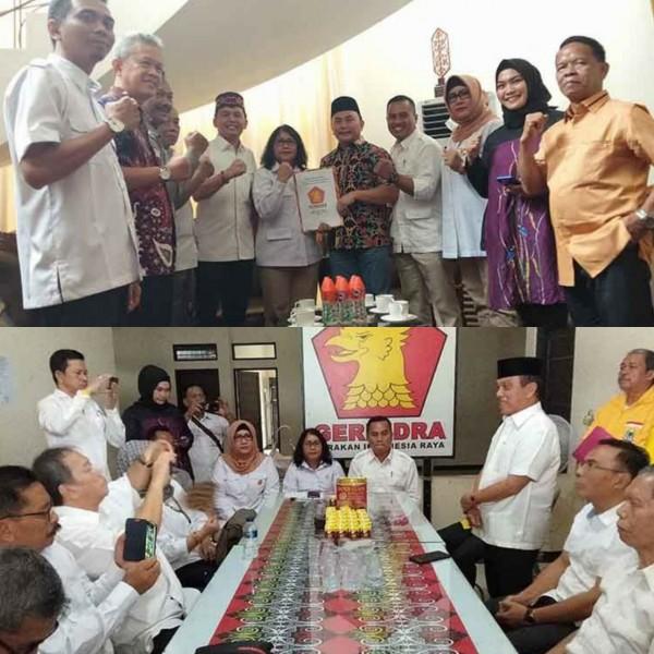 Kedua calon kandidat saat mendaftar ke Gerindra Jumat (27/9/2019).