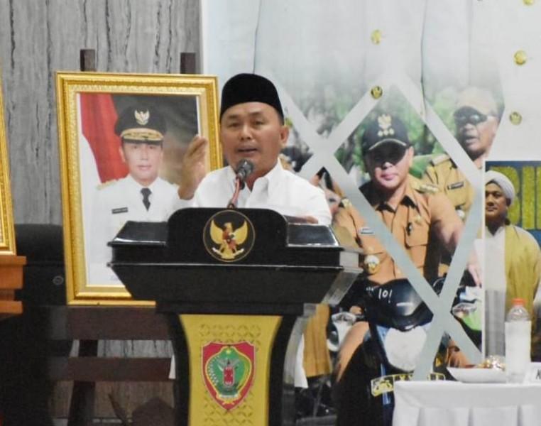 Gubernur Kalteng Sugianto Sabran saat menyampaikan sambutannya pada kegiatan rakordal Rabu (16/10/2019).