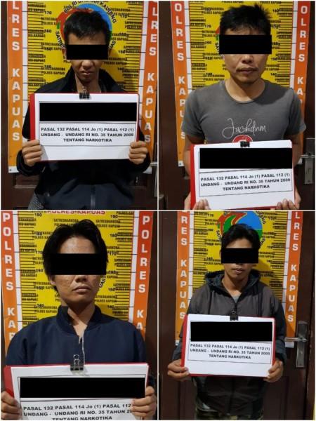 Keempat pelaku saat diamankan di Mapolres Kapuas Kamis (17/10/2019).