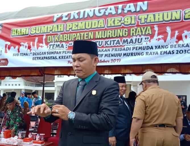 Wakil Ketua II DPRD Mura Rahmanto saat menghadiri kegiatan peringati Hari Sumpah Pemuda Senin (28/10/2019).