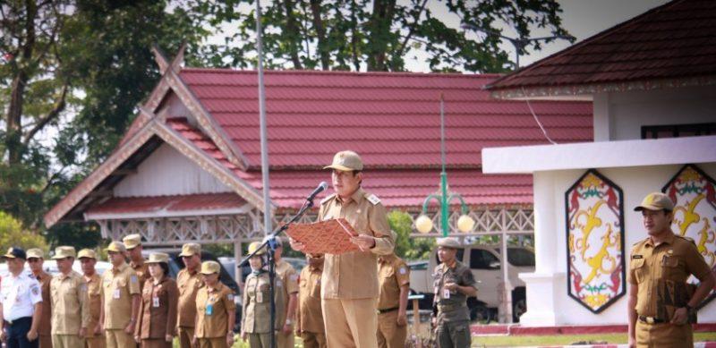 Wabup Mura Rejikinoor saat memimpin upacara peringati Hari Kesaktian Pancasila Selasa (1/10/2019).
