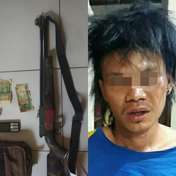 Pelaku saat diamankan bersama barang bukti di Mapolres Kotim Selasa (5/11/2019).
