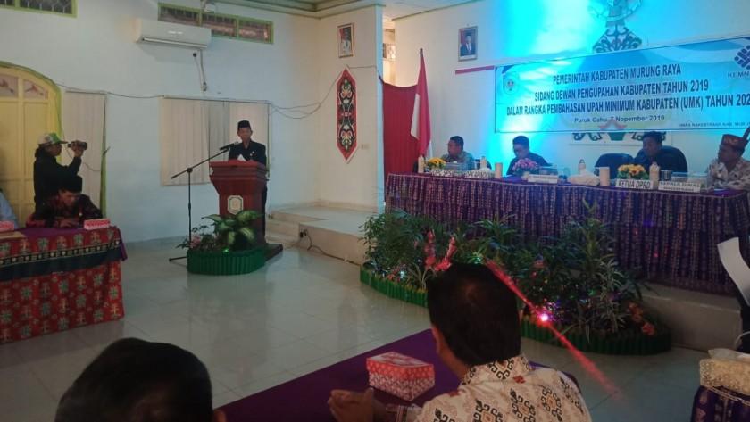 Kadisnakertrans Mura, M. Syahrial Pasaribu saat memberikan sambutannya, Kamis (7/11/2019).