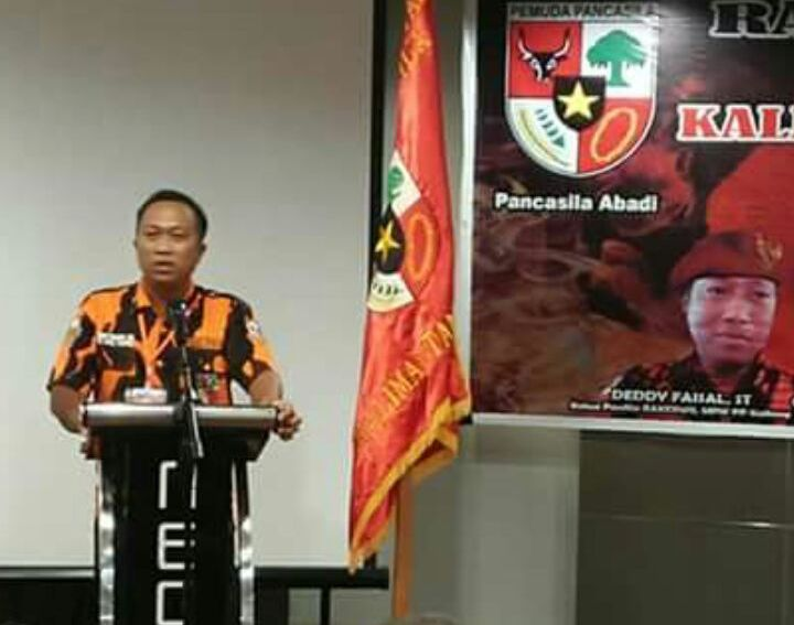 Ketua Umum MPC PP Kabupaten Katingan Deddy Faizal saat menyampaikan sambutannya.