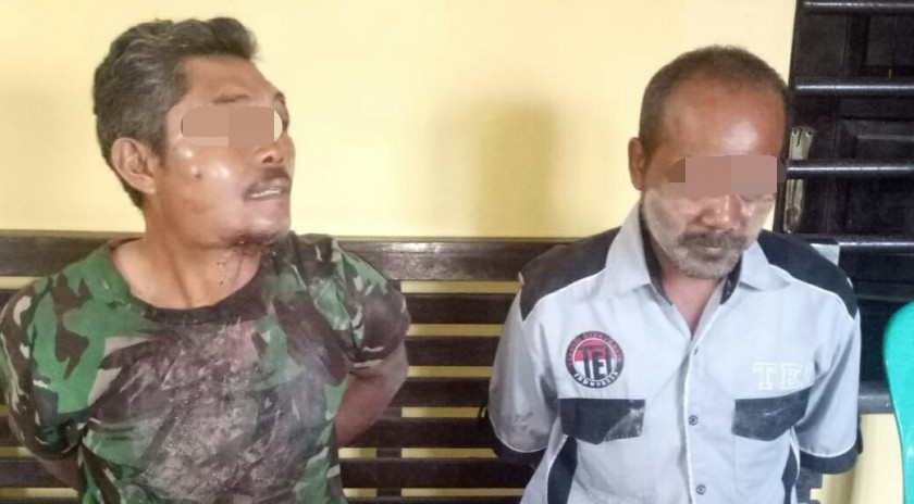 Dua dari lima pelaku saat diamankan di Mapolsek Pangkalan Banteng Sabtu (16/11/2019).