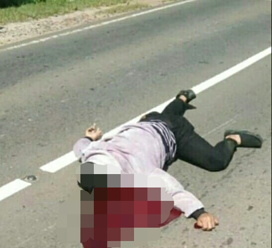 Korban saat tergeletak tewas di lokasi kejadian Sabtu (28/12/2019).