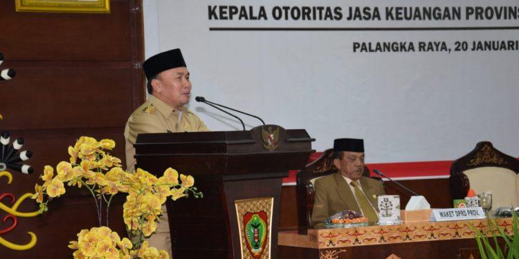 Gubernur Kalteng Sugianto Sabran saat menyampaikan sambutannya.