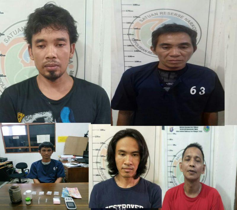 Kelima tersangka saat diamankan di Mapolres Kotim.