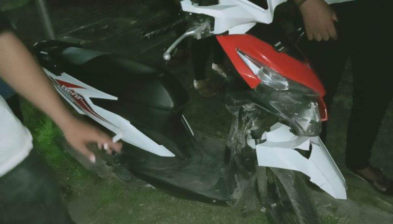 Sepeda motor korban saat mengalami kerusakan seusai kejadian Selasa (14/1/2020) malam.