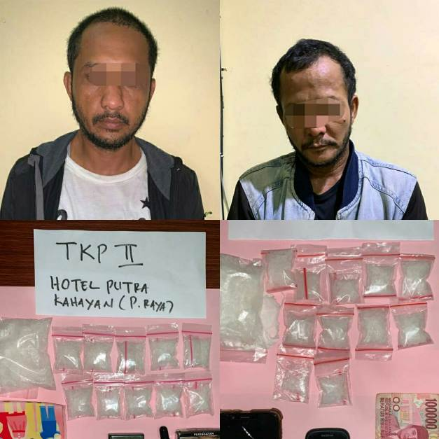 Kedua pelaku saat diamankan anggota Ditresnarkoba Polda Kalteng Rabu (22/1/2020).