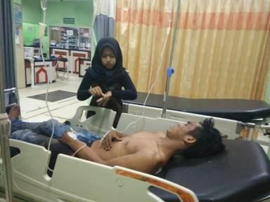 Korban saat mendapat perawatan di RSUD Murjani Sampit Kamis (23/1/2020).