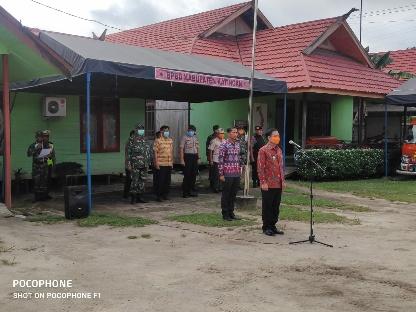 Bupati Sakariyas Pimpin Jalannya Apel Persiapan antisipasi penyebaran Covid-19 di Kabupaten Katingan, Kamis (26/3). Foto : MI