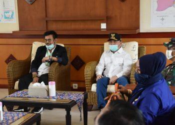 Gubernur Kalteng Sugianto Sabran saat menerima kedatangan Mentan RI, Syahrul Yasin Limpo Jumat (15/5).