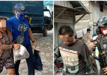 Pasangan suami istri saat digelendang petugas BNNP Kalteng dan Ditsamapta Polda Kalteng ketika digerebek Jumat (29/5).