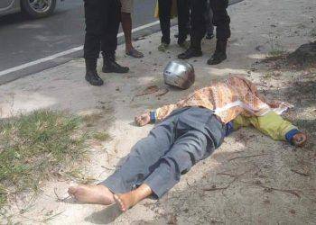 Korban saat tergeletak meninggal dunia di lokasi kejadian Rabu (3/6).
