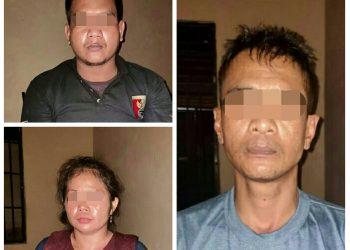 Ketiga tersangka saat diamankan di Mapolres Lamandau Rabu (3/6).
