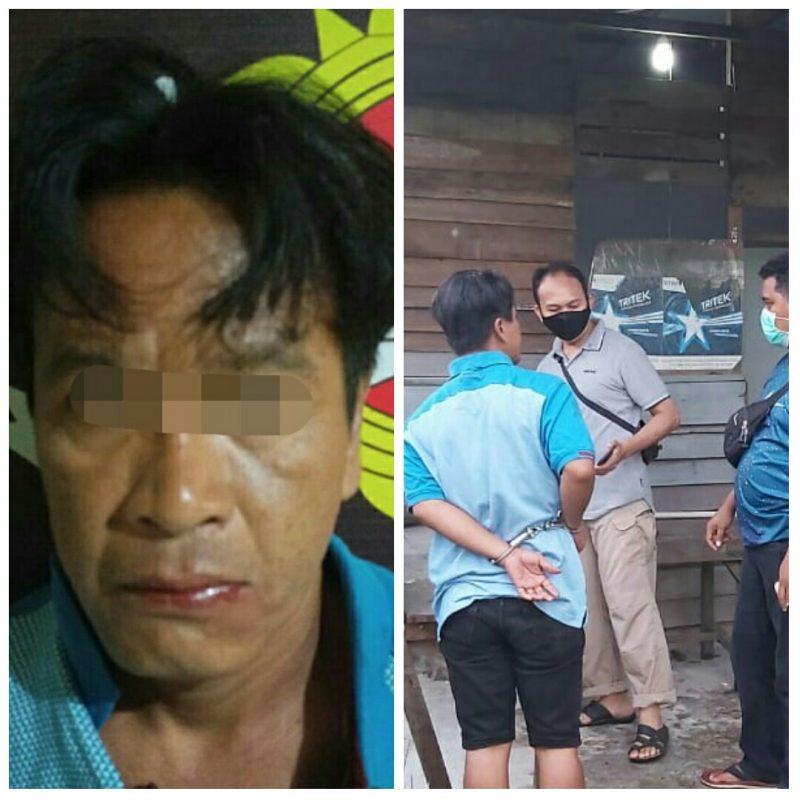 Anggota saat meringkus tersangka dikediamannya Jalan Kuningan Rabu (10/9).
