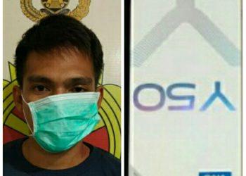 Tersangka saat diamankan di Mapolsek Murung, Senin (27/1).
