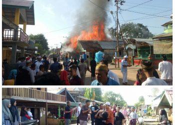 Warga saat geger saat menyaksikan perstiwa kebakaran di Desa Sembuluh I dan mengevakuasi jasad korban seusai tersengat listrik, Kamis (31/7).