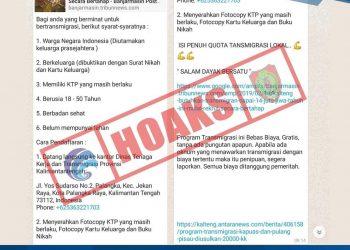 Pengumuman berita bohong (hoax) di media sosial (medsos)