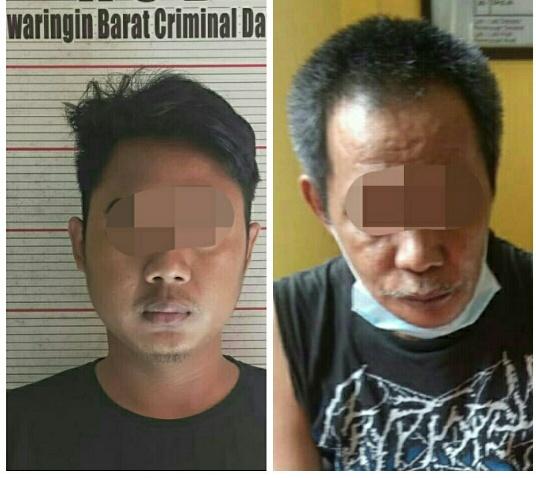 Dua tersangka saat diamankan di Mapolres Kobar, Senin (28/9).