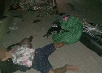 Korban saat tergeletak di lokasi kejadian Kamis (8/10) tadi malam.