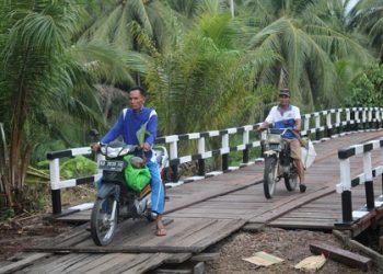 Sarwaji dan Mansur dengan nyaman membawa kelapa hasil kebun mereka melintasi Jembatan Handil Samsu yang diperbaiki melalui kegiatan TMMD Reguler ke-109.